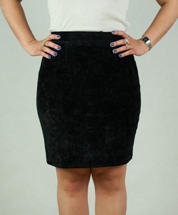 Jupe droite noir style daim