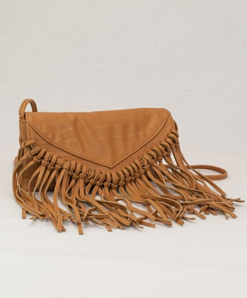 Sac simili cuir camel à franges