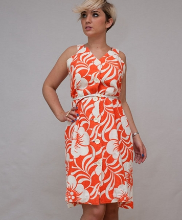 Robe éponge fleurie orange