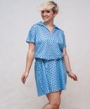 Robe bleu pastel à pois