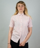 Chemise rayée rose pâle et blanche